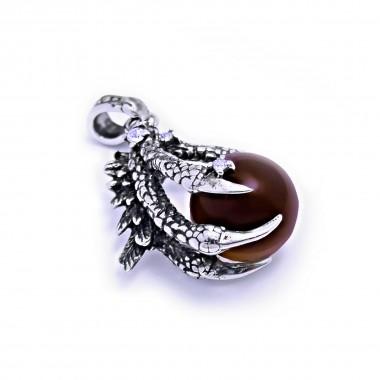 Ocelový přívěsek - Dračí pařát s Červenohnědou koulí / Dragon claw / Red-Brown Ball