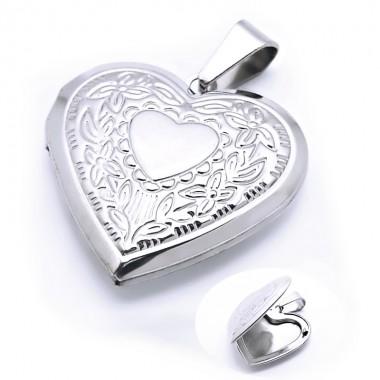 Ocelový přívěsek - Srdce / Amulet (6900)