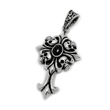 Ocelový přívěsek - Kříž / Lebky /černý kamínek (5721)