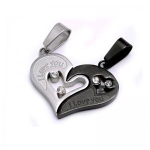 Ocelový přívěsek - Lámací srdce / Double Heart / Black  / Shiny / Stones (5782)
