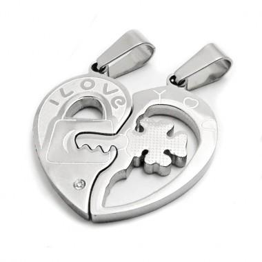 Ocelový přívěsek - Lámací srdce /Double Heart / Cloverleaf key / Shiny / Stone (5783)