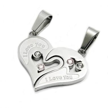 Ocelový přívěsek - Lámací srdce / Double Heart / Shiny / Stones (5781)
