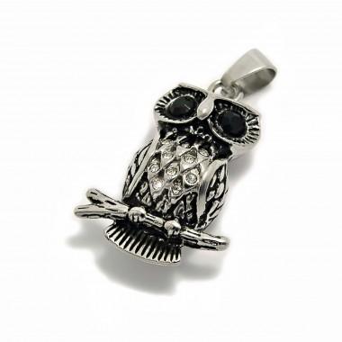 Ocelový přívěsek - Sova / Owl / Black / white / stones (6182)