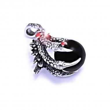 Ocelový přívěsek - Dračí pařát s Černou koulí / Dragon claw / Black Ball / Red stones