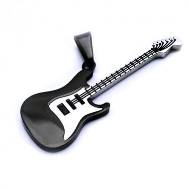 Ocelový přívěsek - Kytara / Guitar / Black (6898)