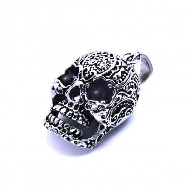 Ocelový přívěšek - Lebka / Morte Skull / Black Eyes Stone (40366)