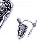 Ocelový Přívěsek - Meč a Štít / Lev / Shield / Sword / Lion (40625)