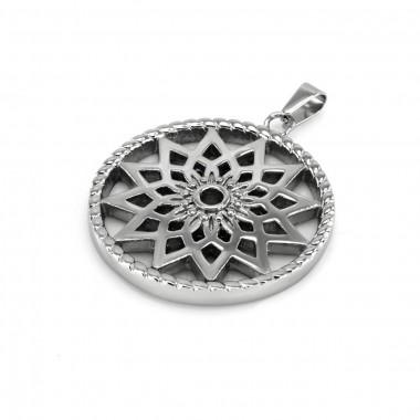 Ocelový přívěsek - Kruh / Květina / Flower Circle (7852)