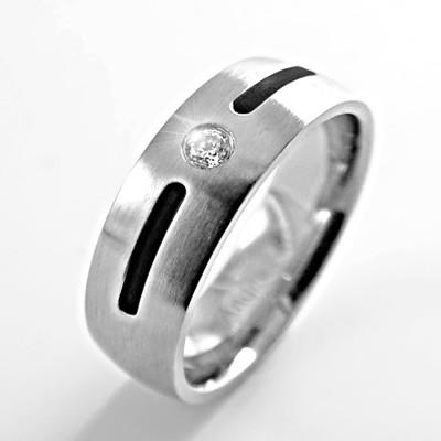 Ocelový prsten Andre Nicol - Stone / Matt / Black Line (847)