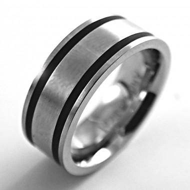 Ocelový prsten Andre Nicol -  Matt / Black Line (748)