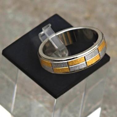 Ocelový prsten Chesseboard Bicolour 0,8