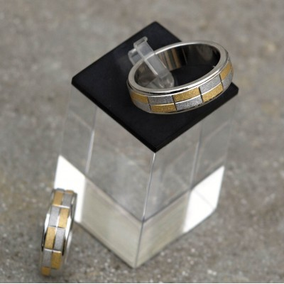 Ocelový prsten  Chessboard Bicolour  0,6