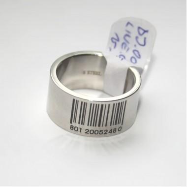 Ocelový prsten - Bar Code I.