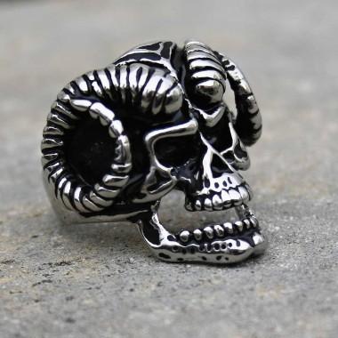 Ocelový prsten - Lebka ďábla / Devil´s skull 01