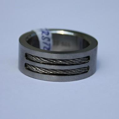 Ocelový prsten Double string 001