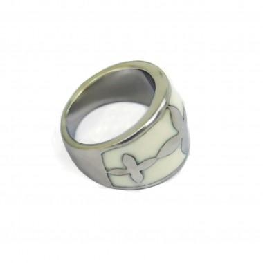 Ocelový prsten White Ornament I.