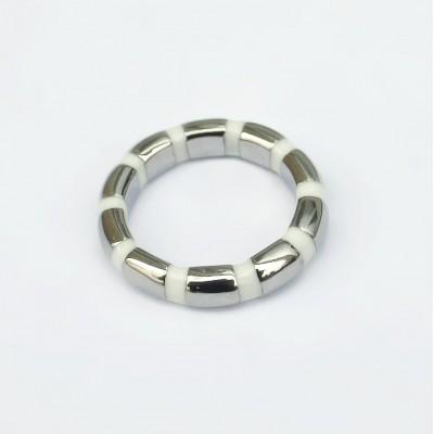 Ocelový prsten - White 02