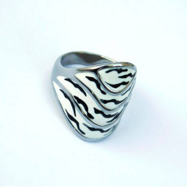 Ocelový prsten - Black and White 01