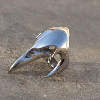 Ocelový prsten Crow - Skull