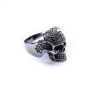 Ocelový prsten - Lebka / Ornament / Listy (2021)