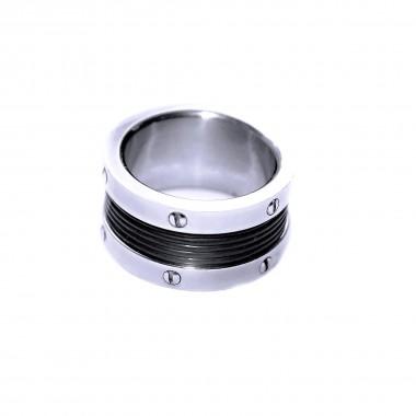 Ocelový prsten - Rubber / Wr  (021)