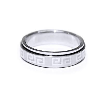 Ocelový prsten Spinning - Greek 002
