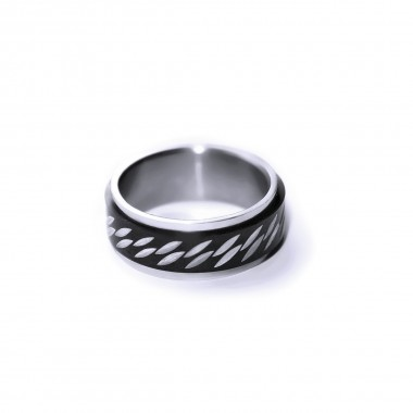 Ocelový prsten - Spinning Ornament / Black / Shiny (021)