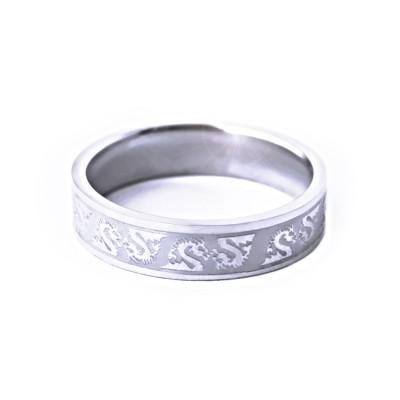 Ocelový prsten - Jemný kroužek / Draci (021)