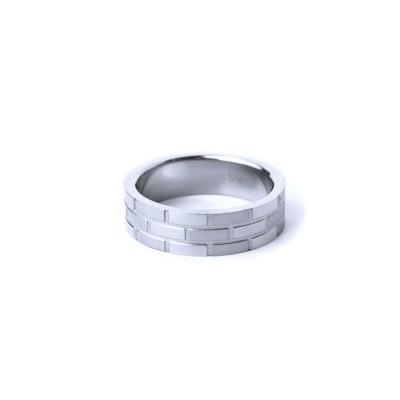 Ocelový prsten - Cihlový vzor / Mat / Lesk ( 021)