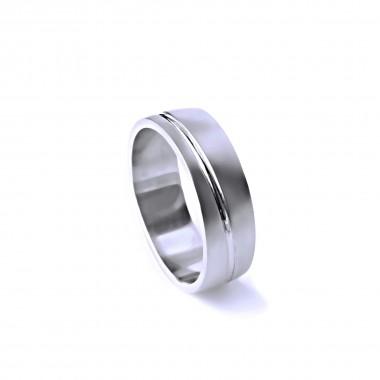 Ocelový prsten - Matný s Leštěnou linkou (021)