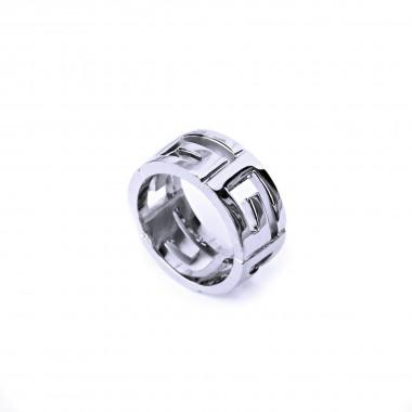 Ocelový prsten - Leštěný / meandr (021)