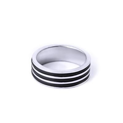 Ocelový prsten - Lesk / Rubber / Black line 3