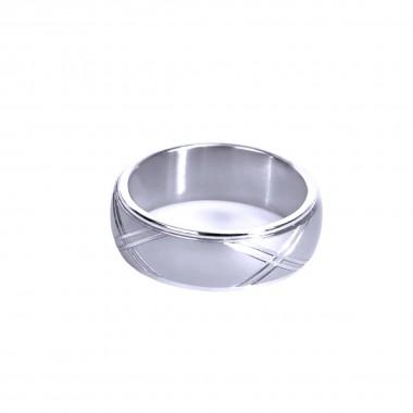 Ocelový prsten - XX lines / Mat / Lesk (021)