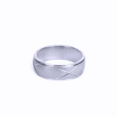 Ocelový prsten - X line / Mat / Lesk (021)