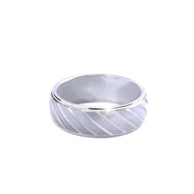 Ocelový prsten - lines / Mat / Lesk (021)