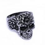 Ocelový prsten - Lebka / Blooming Skull (018)