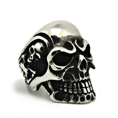Ocelový prsten - Lebka / Morbid Skull (015)