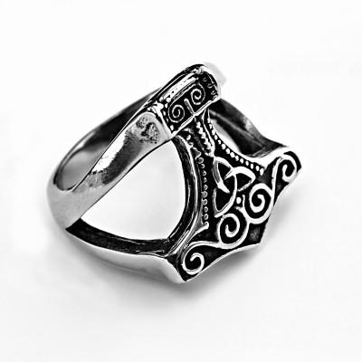 Ocelový prsten - Thorovo Kladivo Mjolnir / Thor´s Hammer (015)