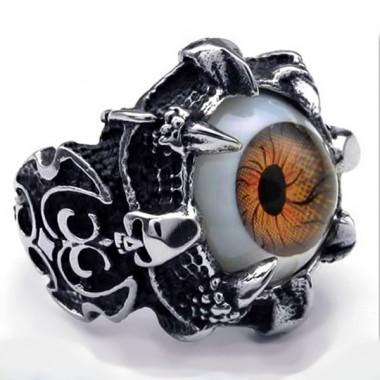 Ocelový prsten - Hnědé Oko / EVIL EYE / Brown (015-1)