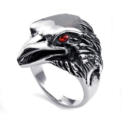 Ocelový prsten - Orlí Hlava s Červeným Kamenem / Eagle / Red