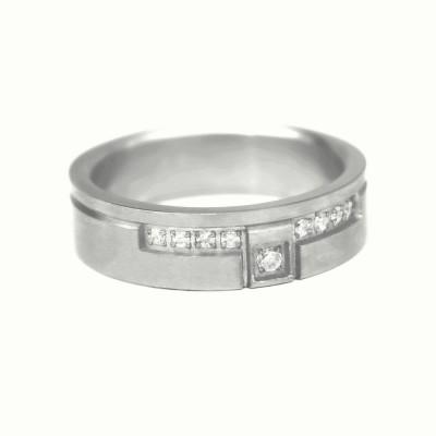 Ocelový prsten - Stones/Matt 01