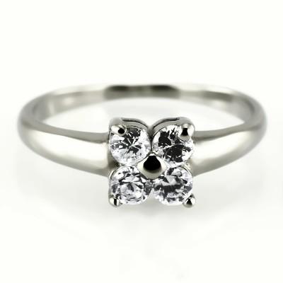 Ocelový prsten - Four Stones/Quarterfoil