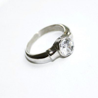 Ocelový prsten - One Stone/Shiny 01