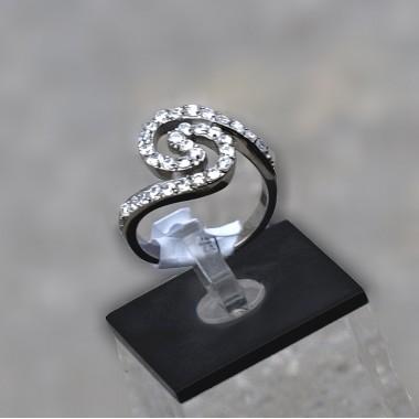 Ocelový prsten Spiral Stones