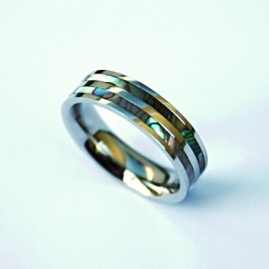 Ocelový prsten - Colour Pearl I.