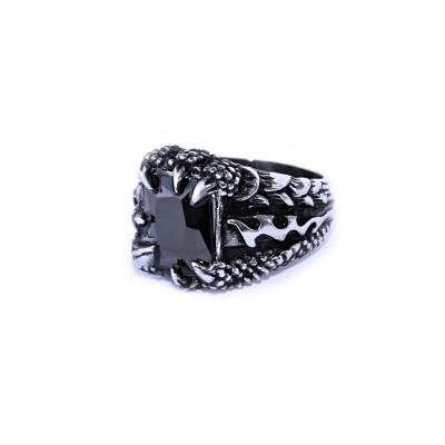 Ocelový prsten - Dračí pařát / Černý kámen / Dragon Claw / Black Stone 2020