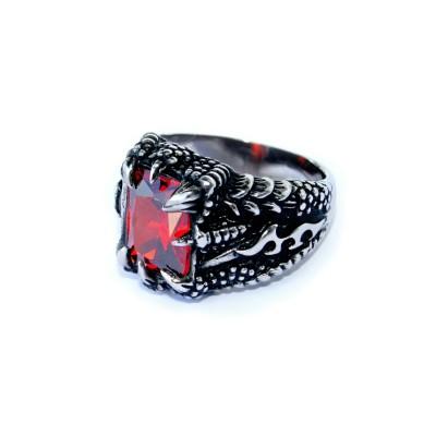 Ocelový prsten - Dračí pařát / Červený kámen / Dragon Claw / Red Stone 2020