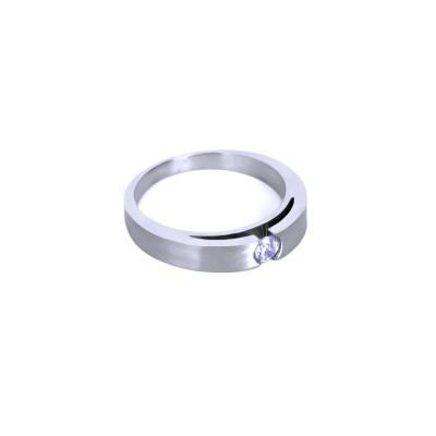 Ocelový prsten - Lesk / Mat / Kamínek (021)