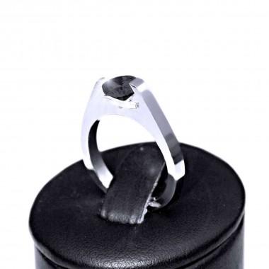 Ocelový prsten - Lesk / Mat / Černý Kámen (021)