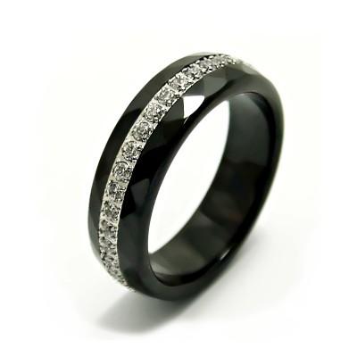 Ocelový prsten - Ceramic Black / Stones (6143)